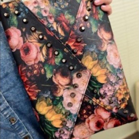 Handbags - Floral Print Studded Envelope Bag